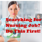 nurse sitting in front of computer looking for a nursing job